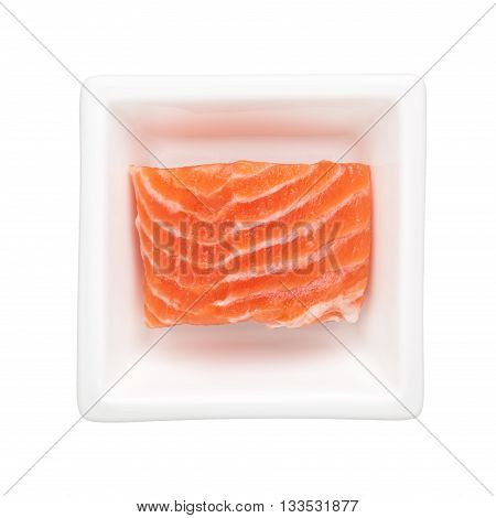 Salmon fillet in a square bowl isolated on white background