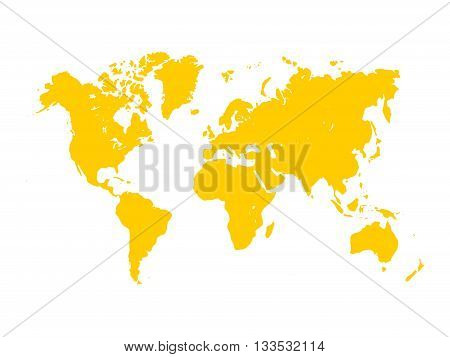 Vector map of World. Yellow silhouette on white background. Simplified World map