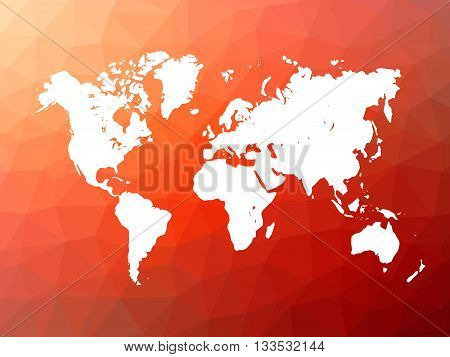Map of World on low poly background. World map on background made of triangles. White vector illustration on red polygonal shape background.