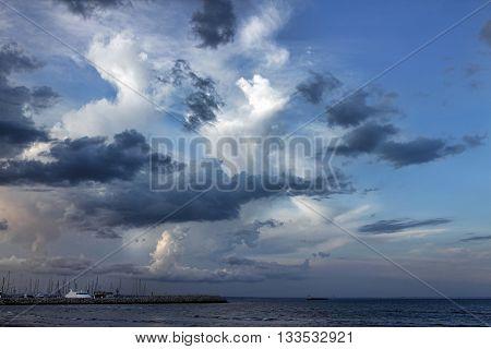 Dramatic sky above Larnaca Cyprus. Larnaca has dry-summer subtropical climate.