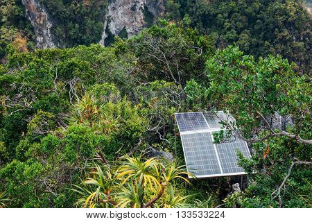 Solar panels in the mountains. Krabi, Thailand.