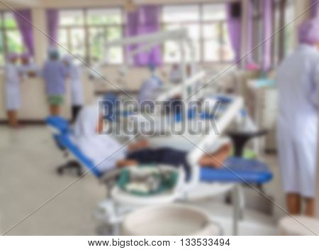 Blur blurred of Patient with in hospital dental for background usage .
