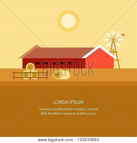 Rural Farm Landscape. Red Farm Barn. Flat Style Vector Illustration. Vector Background