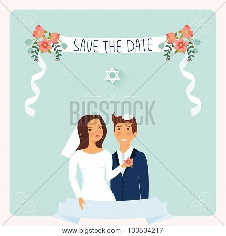 Wedding invitation template. Cute Jewish couple under chuppah.