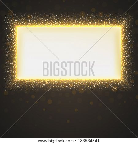 Glittering star dust background with banner. Magic lights vector background with bokeh and place for your message. Abstract background with luminous backdrop.