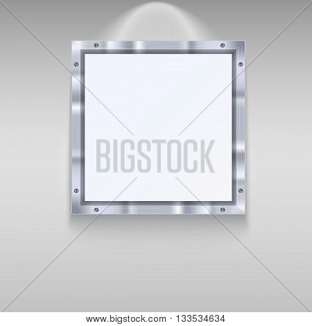 White plate with metal frame and bolts on wall background. White banner and metal frame with reflexes. Technological background for your design