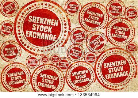 shenzhen stock exchange, red stamp on a grunge paper texture