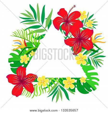 Floral vector card with colorful tropical flowers in triangles frame. Frame for logo label or greetings.