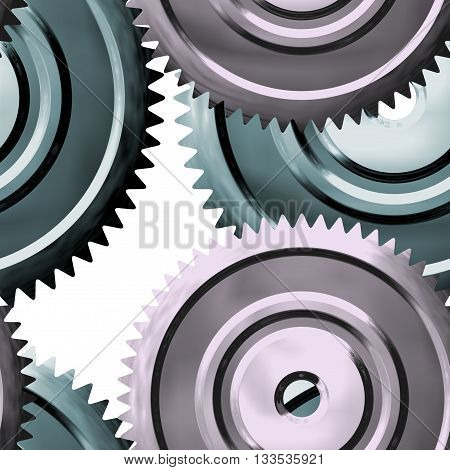 Metal sprockets on white background - abstract illustration