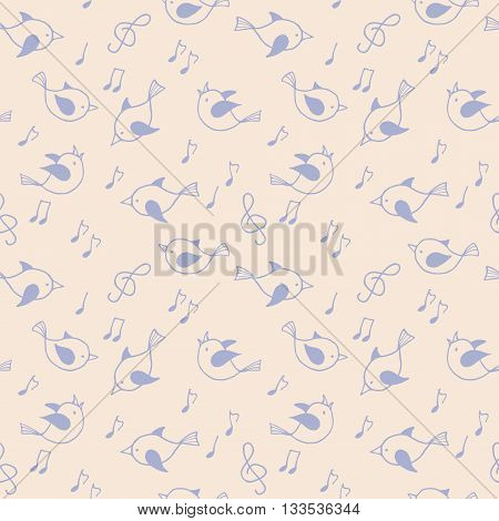 Seamless pattern with purple funny birds. Vector illustation.
