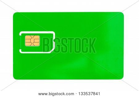 Green SIM card for a mobile phone with an empty space for writing isolated