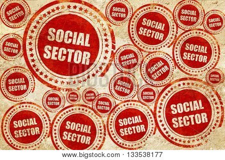 social sector, red stamp on a grunge paper texture
