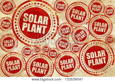 solar plant, red stamp on a grunge paper texture