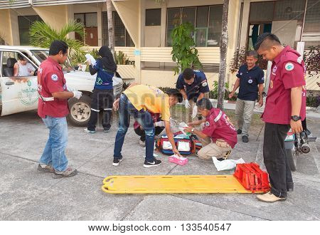 YALA THAILAND - April 21 : The refresher training to assist in emergency rescue situations Training devoted to the of first aid. traffic accident. in Yala southern Thailand. on April 21 2016