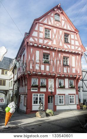 BOPPARD, GERMANY, 8 AUGUST 2014 - Half timbered building with painted red timbers Boppard on the Rhine Germany