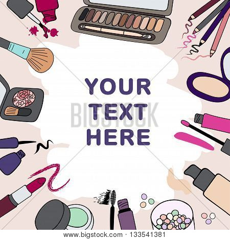 Background frame with makeup cosmetics products and strokes
