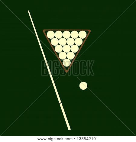 cue and balls for billiards lay on a green background