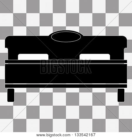 Vector black bed icon on transparent background