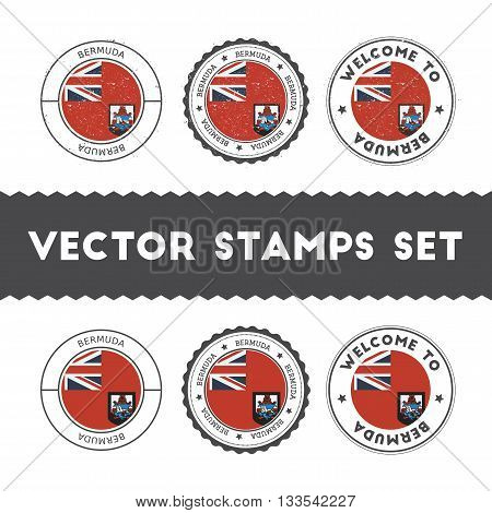 Bermudian Flag Rubber Stamps Set. National Flags Grunge Stamps. Country Round Badges Collection.