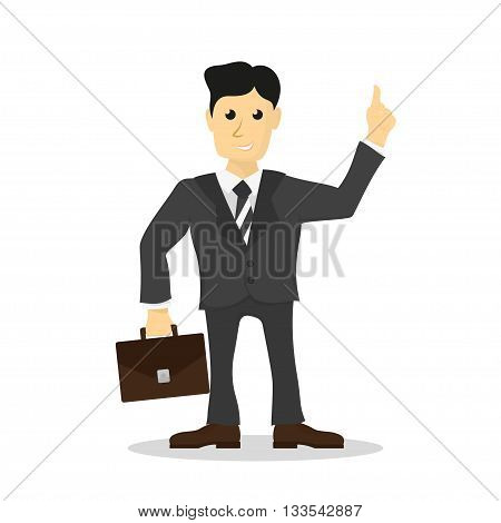 Picture of man dressed in suit with brief case in hand office worker businessman flat style illustration