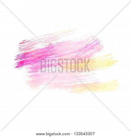 Watercolor pink paint brush storkes. Watercolor background