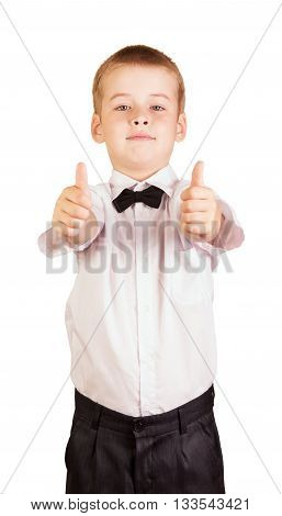 Cute boy, his fists and thumbs up isolated on white background.