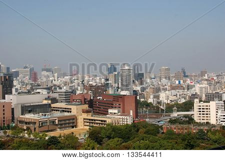 aerial view of industrial city osaka of japan in a gloomy day