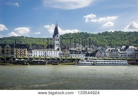 BOPPARD GERMANY 9 AUGUST 2014 - View of Boppard Germnay from the River Rhine UNESCO World Heritage Site