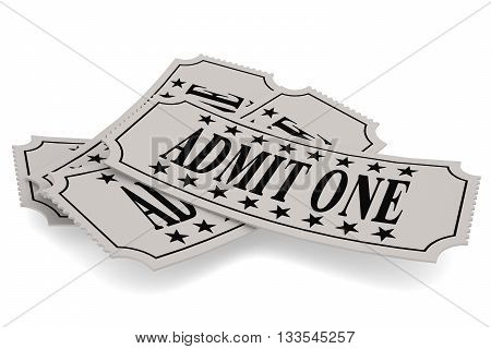 Ticket paper with admit one word isolated on white 3D rendering