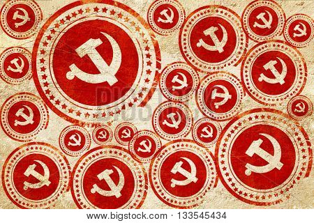 Communist sign with red and yellow colors, red stamp on a grunge