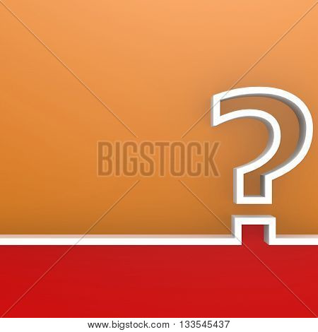 Question mark on red and orange background image, 3D rendering