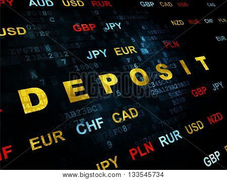 Currency concept: Pixelated yellow text Deposit on Digital wall background with Currency