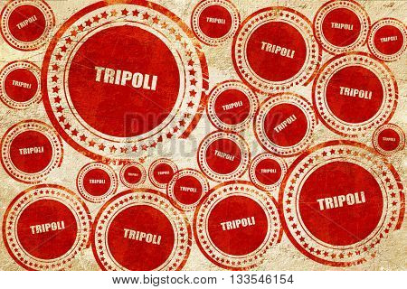 tripoli, red stamp on a grunge paper texture