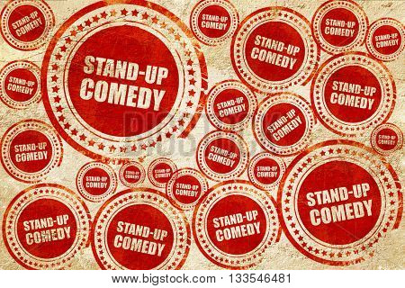 stand-up comedy, red stamp on a grunge paper texture
