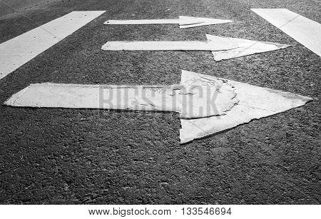 White Arrows Over Black Highway Asphalt