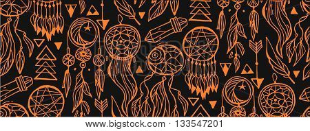 Seamless vector dark pattern with hand drawn native Indian-American dream catcher.Bo ho style pattern with arrowsfeathersgems and dream catchers.Trendy background of tribal symbols