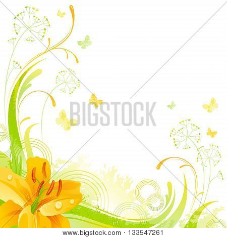 Floral summer background with yellow lily flower, leafs, grass and grunge elements, copy space for your text
