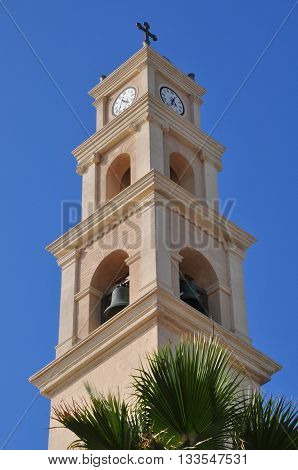 Belfry of St.Peter`s church in old Jaffa. Israel.
