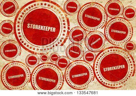 storekeeper, red stamp on a grunge paper texture