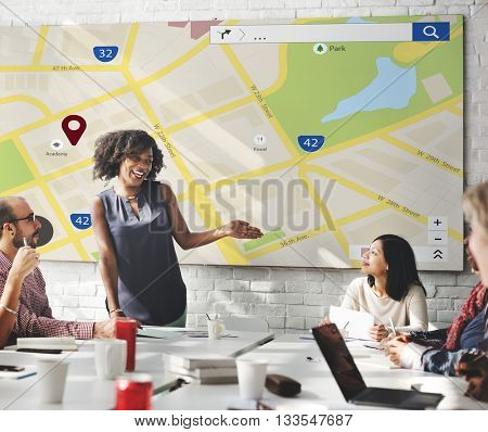 Map Location Information Web Layout Concept