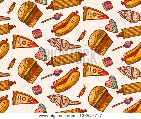Hand drawn seamless vector pattern of fast food.Food illustration.Kitchen bakery pattern.Fast food box packing pattern design.