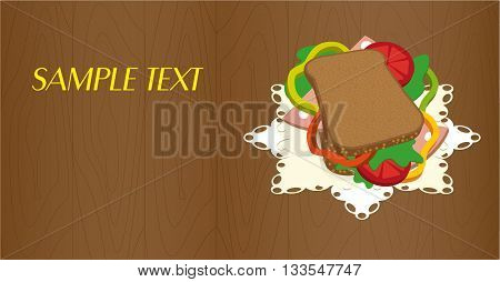Banners/ flyer with a delicious sandwich on a napkin. Graphic arts