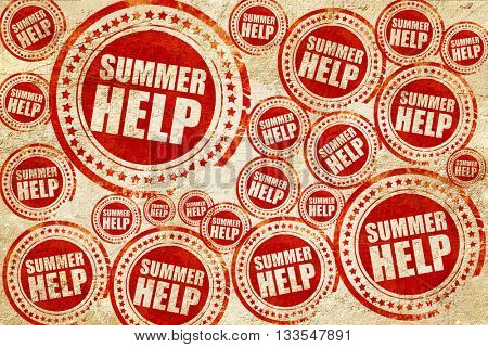 summer help, red stamp on a grunge paper texture