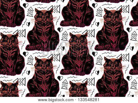 Hand drawn vector seamless black cat pattern.Cat art.Cat illustration on white background.