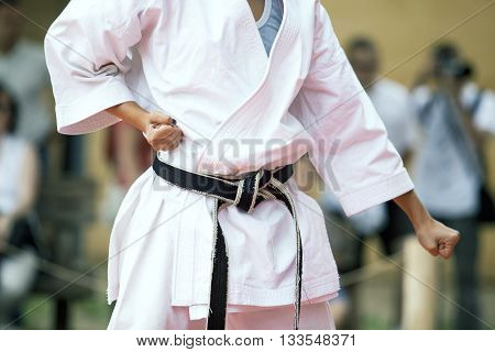 Karate training. Karate practitioner body position during training.