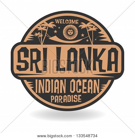 Stamp or label with the name of Sri Lanka, Indian Ocean, vector illustration