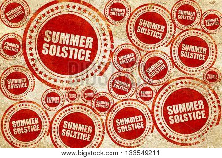summer solstice, red stamp on a grunge paper texture