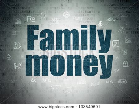 Money concept: Painted blue text Family Money on Digital Data Paper background with  Hand Drawn Finance Icons