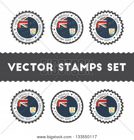 I Love Anguilla Vector Stamps Set. Retro Patriotic Country Flag Badges. National Flags Vintage Round
