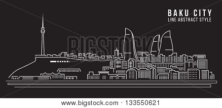 Cityscape Building Line art Vector Illustration design - Baku City
